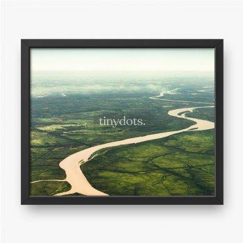 Krajobrazowy widok z lotu ptaka na kolorowe rzeki Amazonki, las z drzewami, dżunglę i pola.
