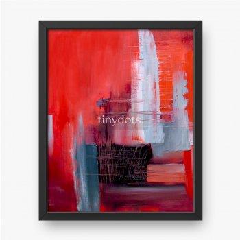 Abstrakte Kunst in Rot und Grau