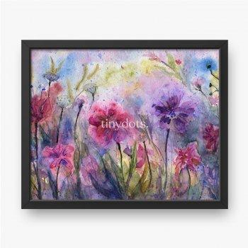 Lila Blumen und Kräuter, abstrakte violette Wiese, emotionale Malerei
