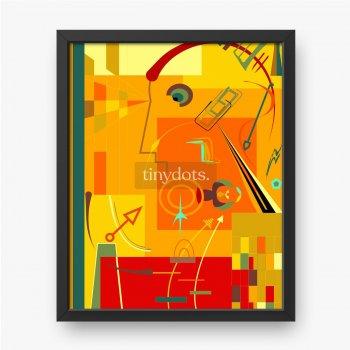 Abstrakte rote, ausgefallene geometrische und gebogene Formen, Kunststil des Expressionismus