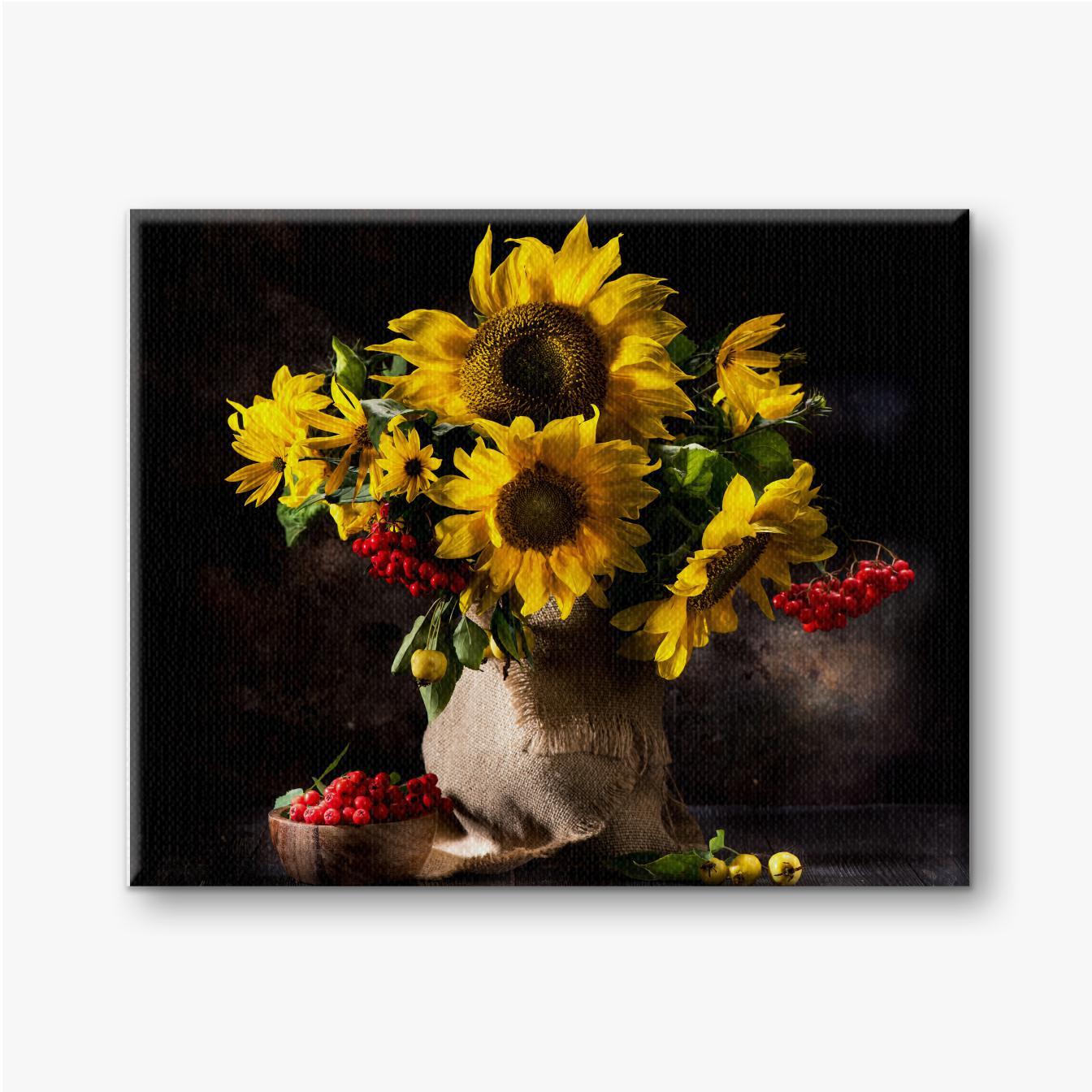 Stillleben mit Sonnenblumen in einer Vase