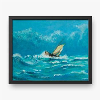Einsames kleines Segelschiff, das in einem Sturm auf dem Ozean kämpft