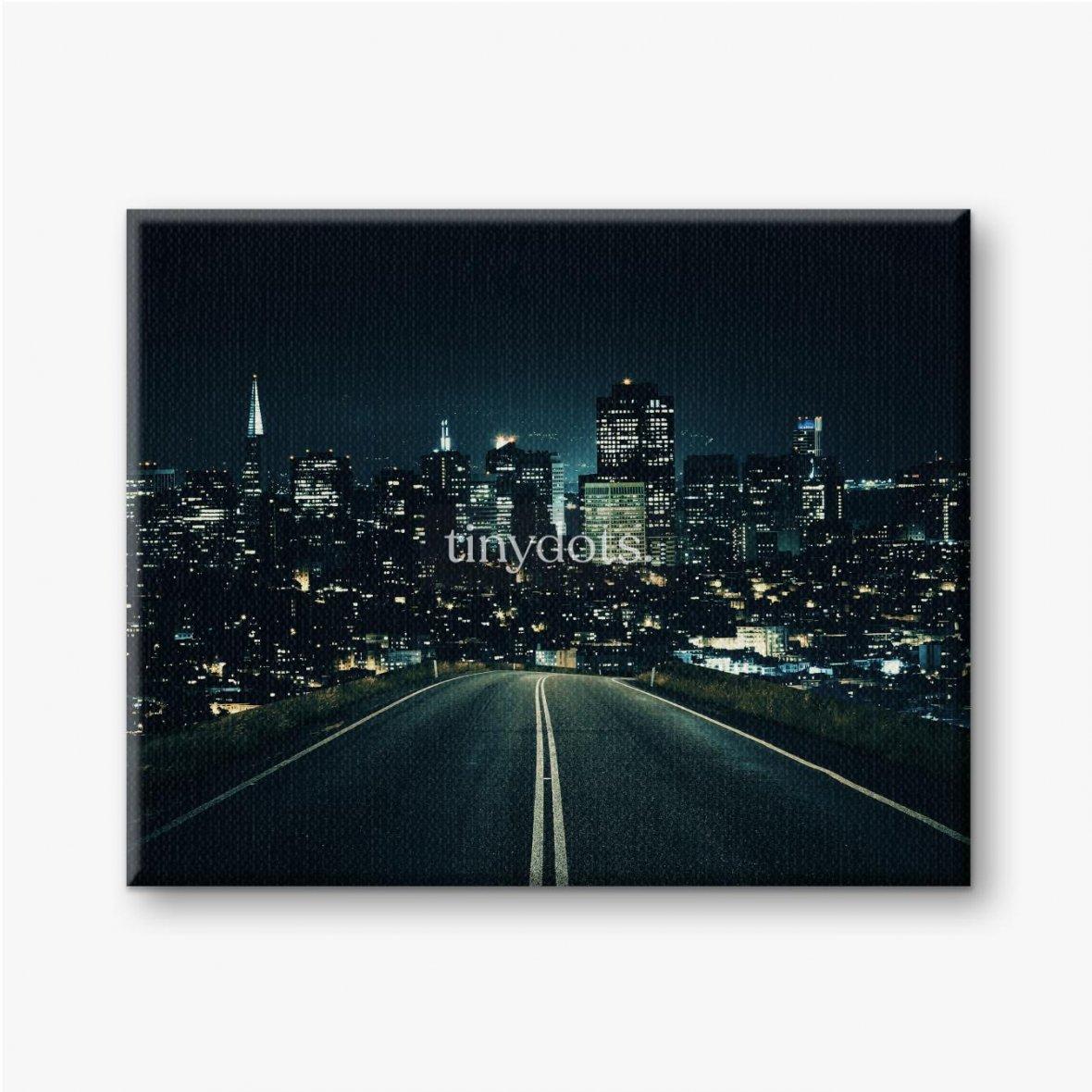 Leinwandbilder Straße zur Nachtstadt