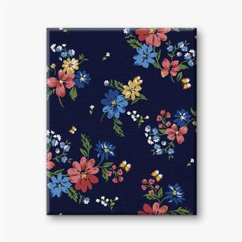 Leinwandbilder Buntes Blumenmuster auf einem dunkelblauen Hintergrund