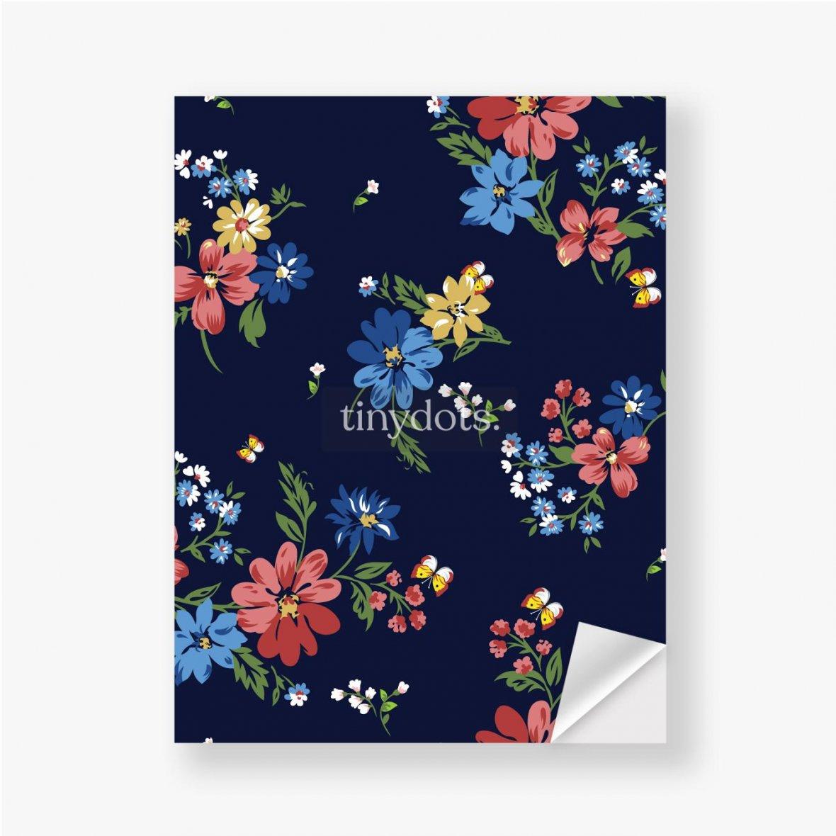 Aufkleber Buntes Blumenmuster auf einem dunkelblauen Hintergrund