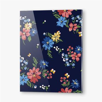 Bilder auf Acrylglas Buntes Blumenmuster auf einem dunkelblauen Hintergrund