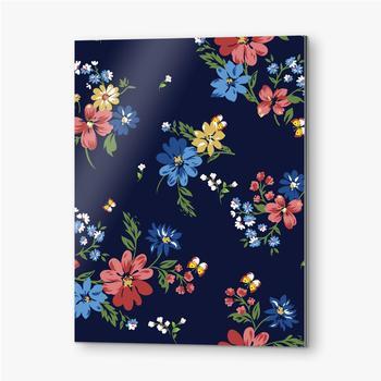 Bilder auf Alu-Dibond Buntes Blumenmuster auf einem dunkelblauen Hintergrund