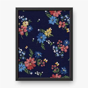 Gerahmte Leinwandbilder Buntes Blumenmuster auf einem dunkelblauen Hintergrund