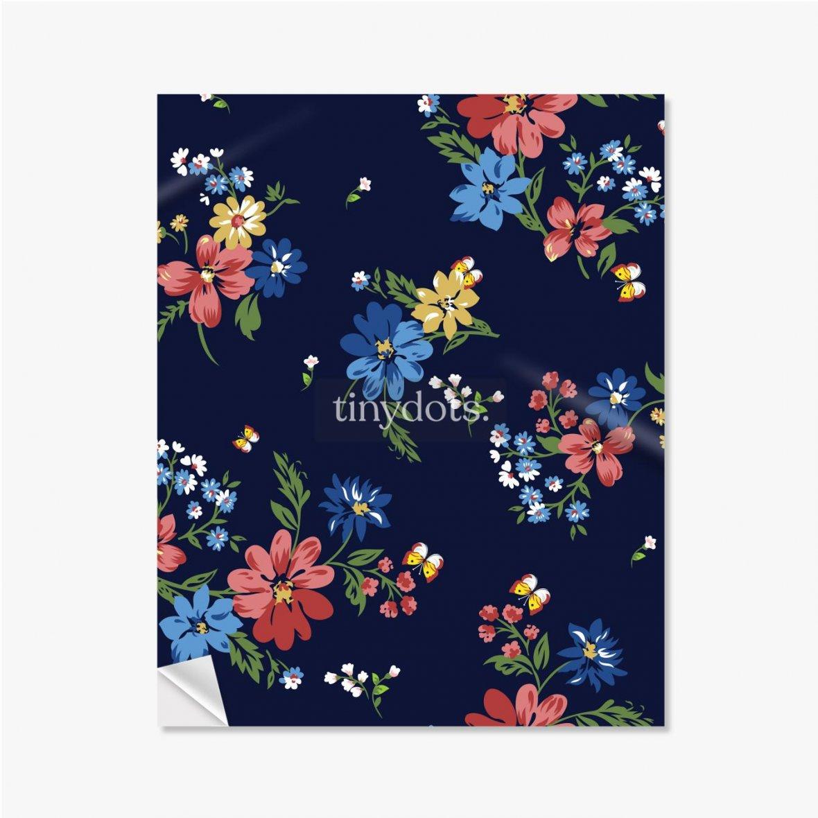 Selbstklebende Poster Buntes Blumenmuster auf einem dunkelblauen Hintergrund