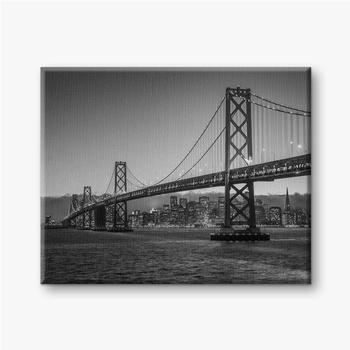 Leinwandbilder Bay Bridge Schwarz und Weiß
