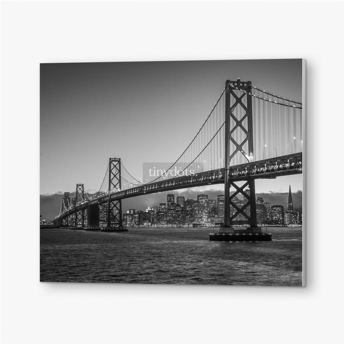 Bilder auf PVC Bay Bridge Schwarz und Weiß