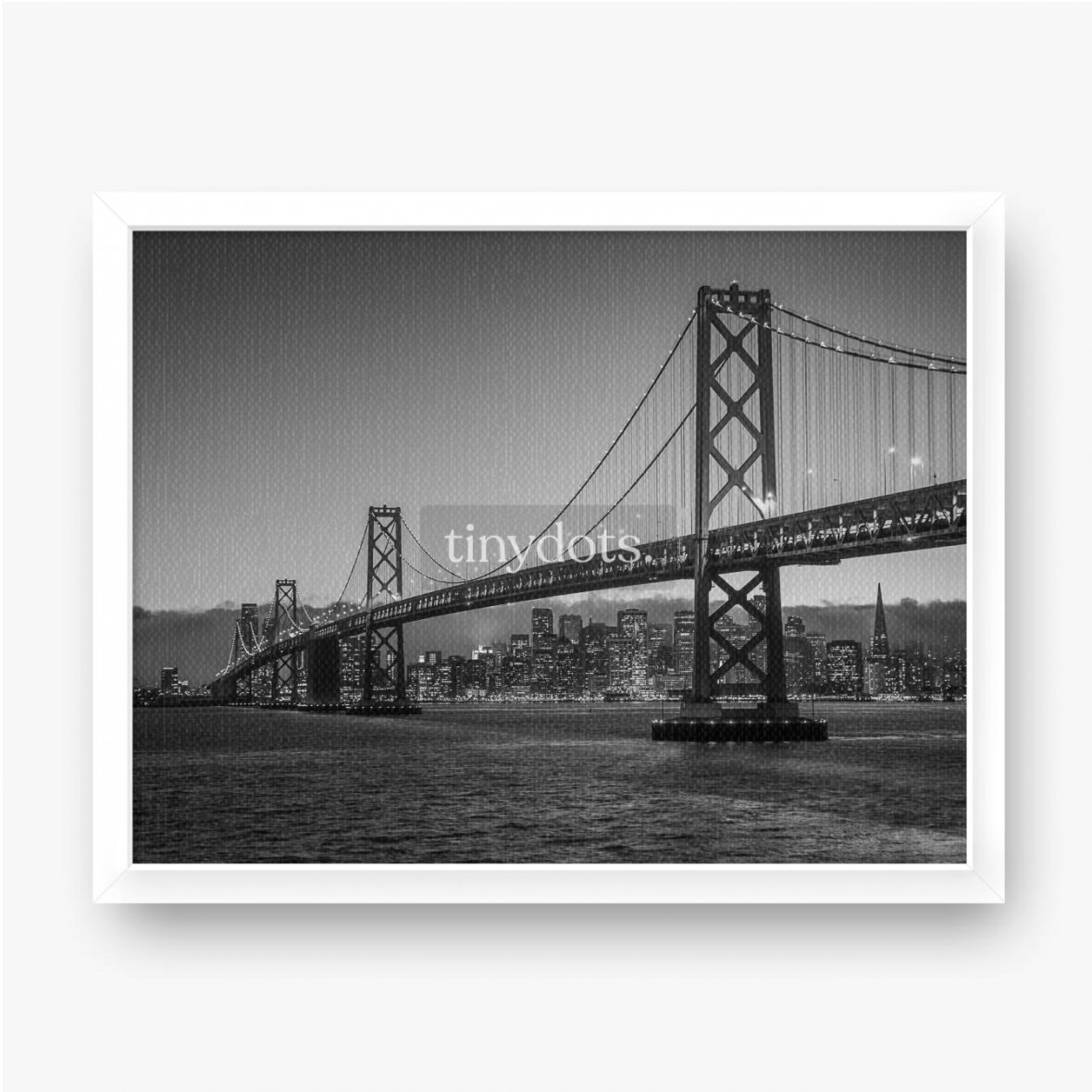 Gerahmte Leinwandbilder Bay Bridge Schwarz und Weiß
