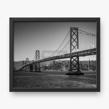 Most Bay Bridge czarno-biały