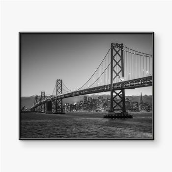 Gerahmte Poster Bay Bridge Schwarz und Weiß