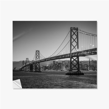 Selbstklebende Poster Bay Bridge Schwarz und Weiß