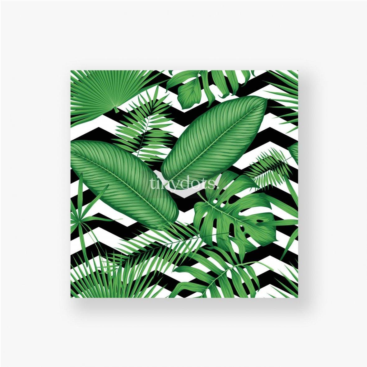 Poster Schönes Blumenmuster, tropische Dschungelblätter auf einem geometrischen Hintergrund