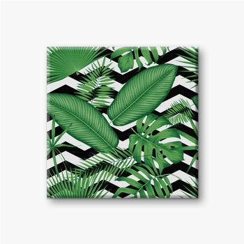 Leinwandbilder Schönes Blumenmuster, tropische Dschungelblätter auf einem geometrischen Hintergrund