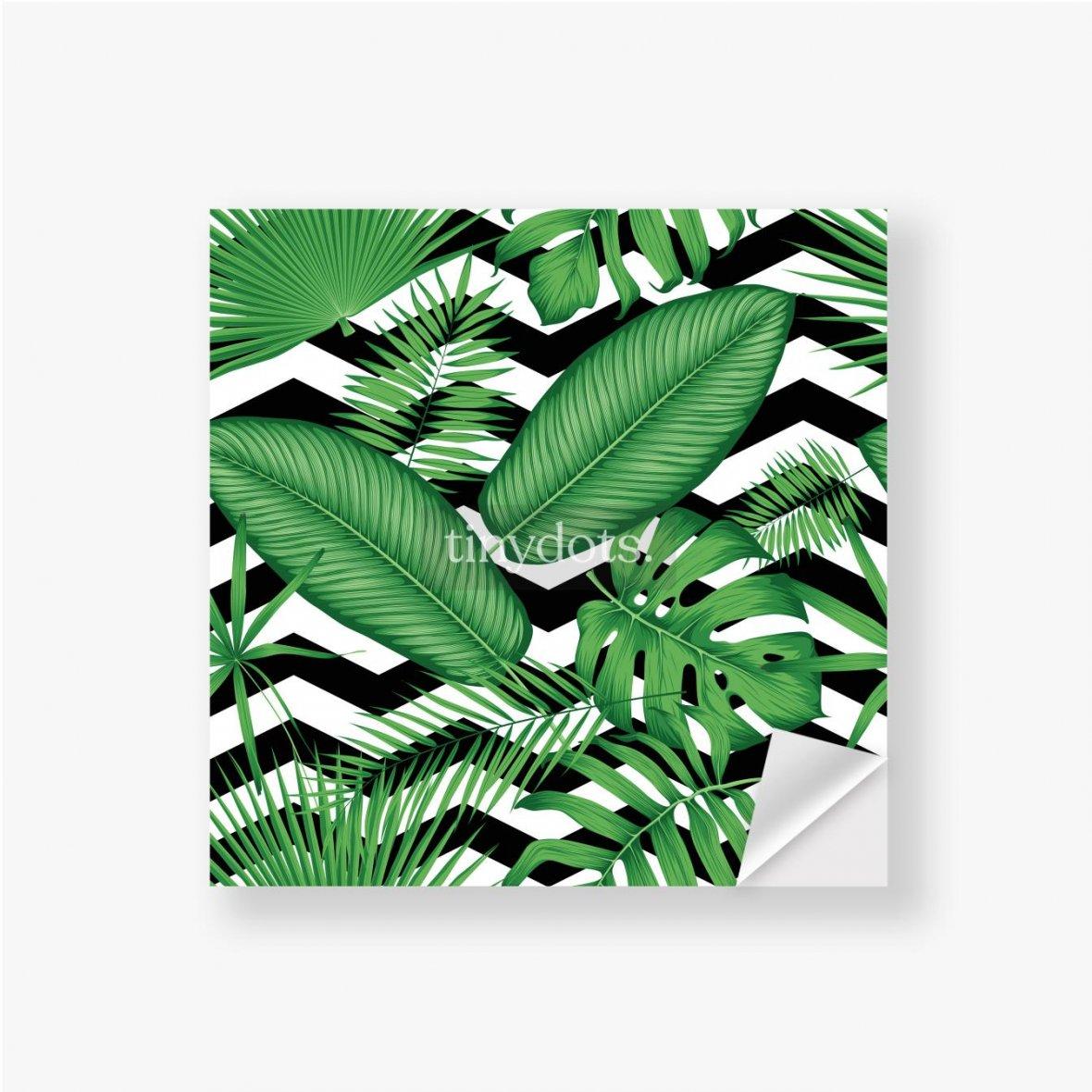 Aufkleber Schönes Blumenmuster, tropische Dschungelblätter auf einem geometrischen Hintergrund
