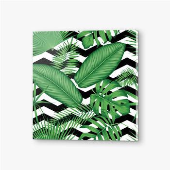 Bilder auf Acrylglas Schönes Blumenmuster, tropische Dschungelblätter auf einem geometrischen Hintergrund