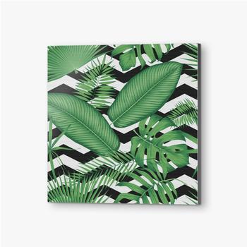 Bilder auf Alu-Dibond Schönes Blumenmuster, tropische Dschungelblätter auf einem geometrischen Hintergrund