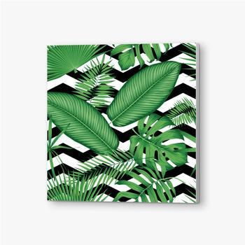 Bilder auf PVC Schönes Blumenmuster, tropische Dschungelblätter auf einem geometrischen Hintergrund