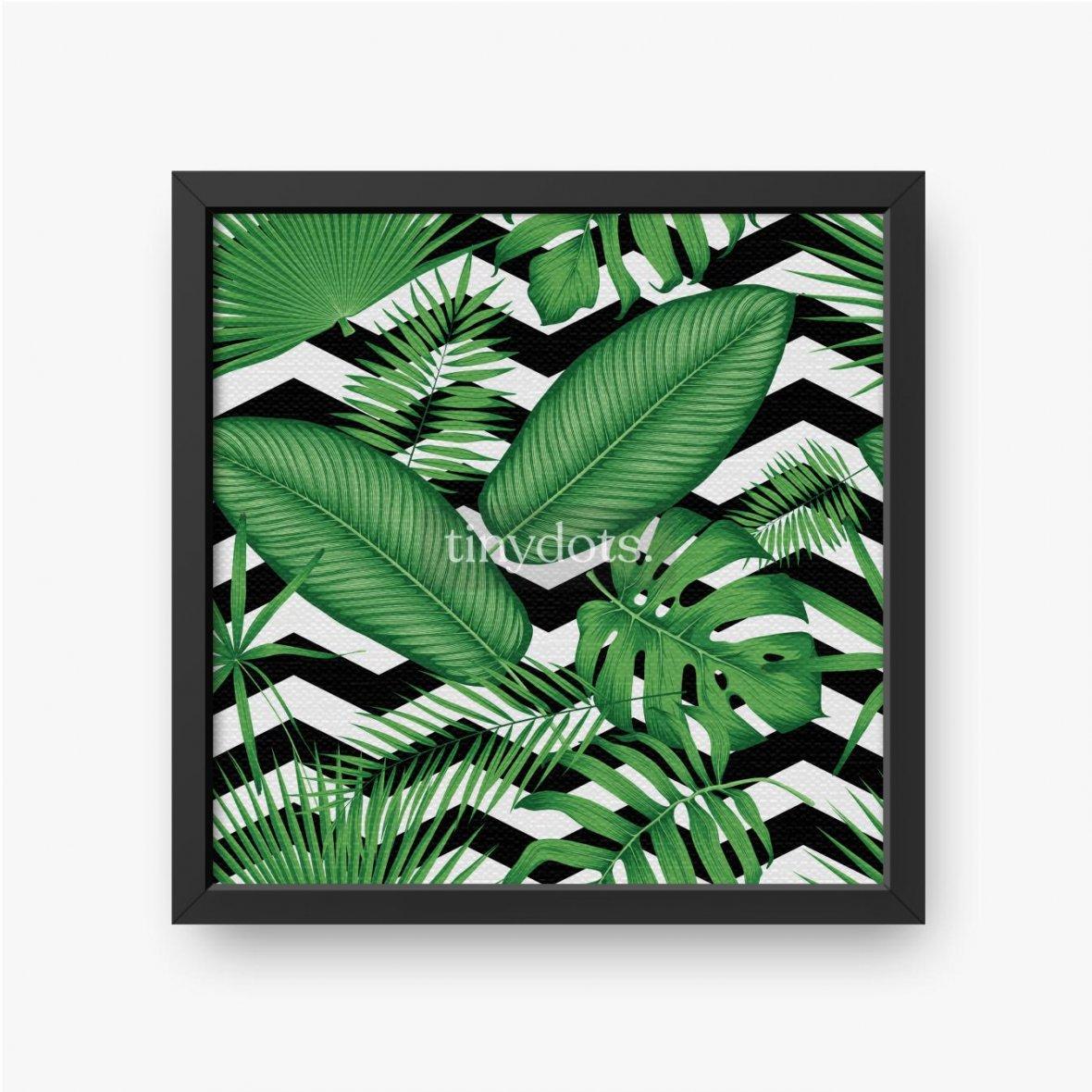 Gerahmte Leinwandbilder Schönes Blumenmuster, tropische Dschungelblätter auf einem geometrischen Hintergrund