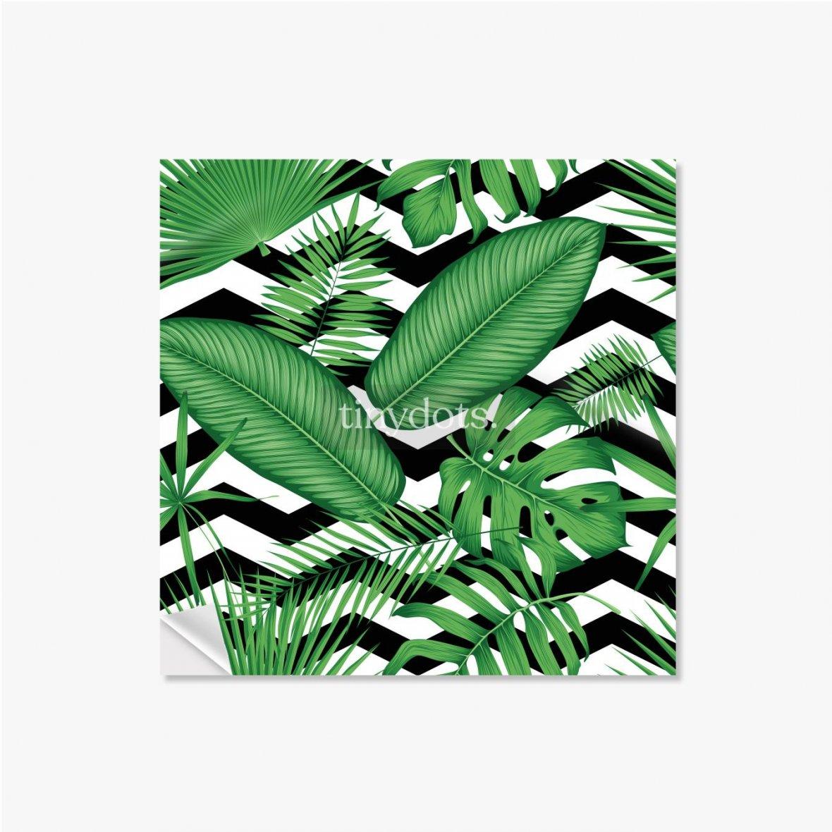 Selbstklebende Poster Schönes Blumenmuster, tropische Dschungelblätter auf einem geometrischen Hintergrund