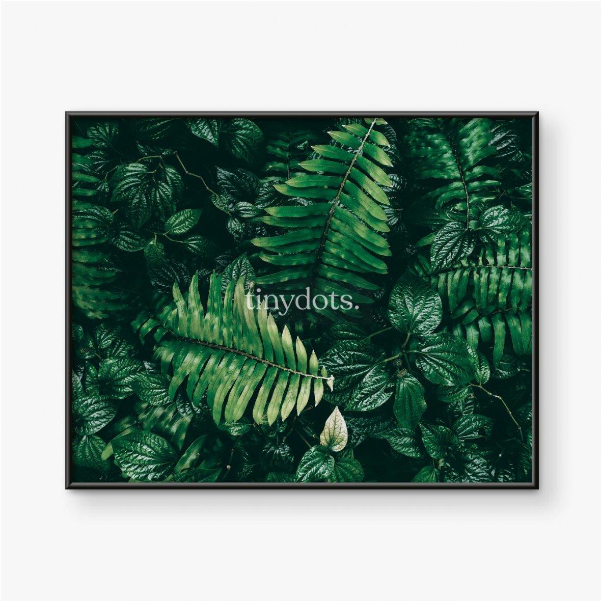 Gerahmte Poster Tropisches grünes Blatt im dunklen Ton.