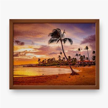 Gerahmte Leinwandbilder Der Sonnenuntergang des Meeres in Hawaii