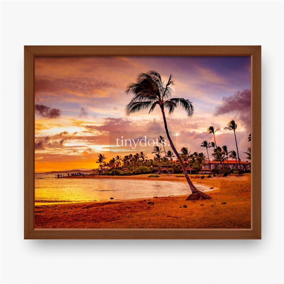 Gerahmte Poster Der Sonnenuntergang des Meeres in Hawaii