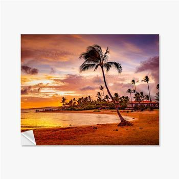 Selbstklebende Poster Der Sonnenuntergang des Meeres in Hawaii