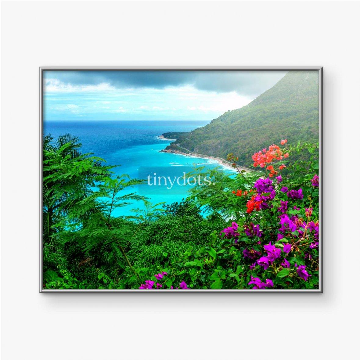 Gerahmtes Poster Herrliche karibische Landschaft