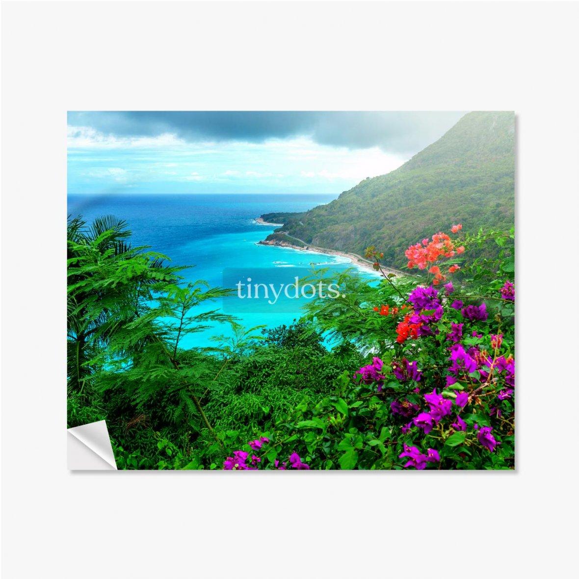 Selbstklebende Poster Herrliche karibische Landschaft