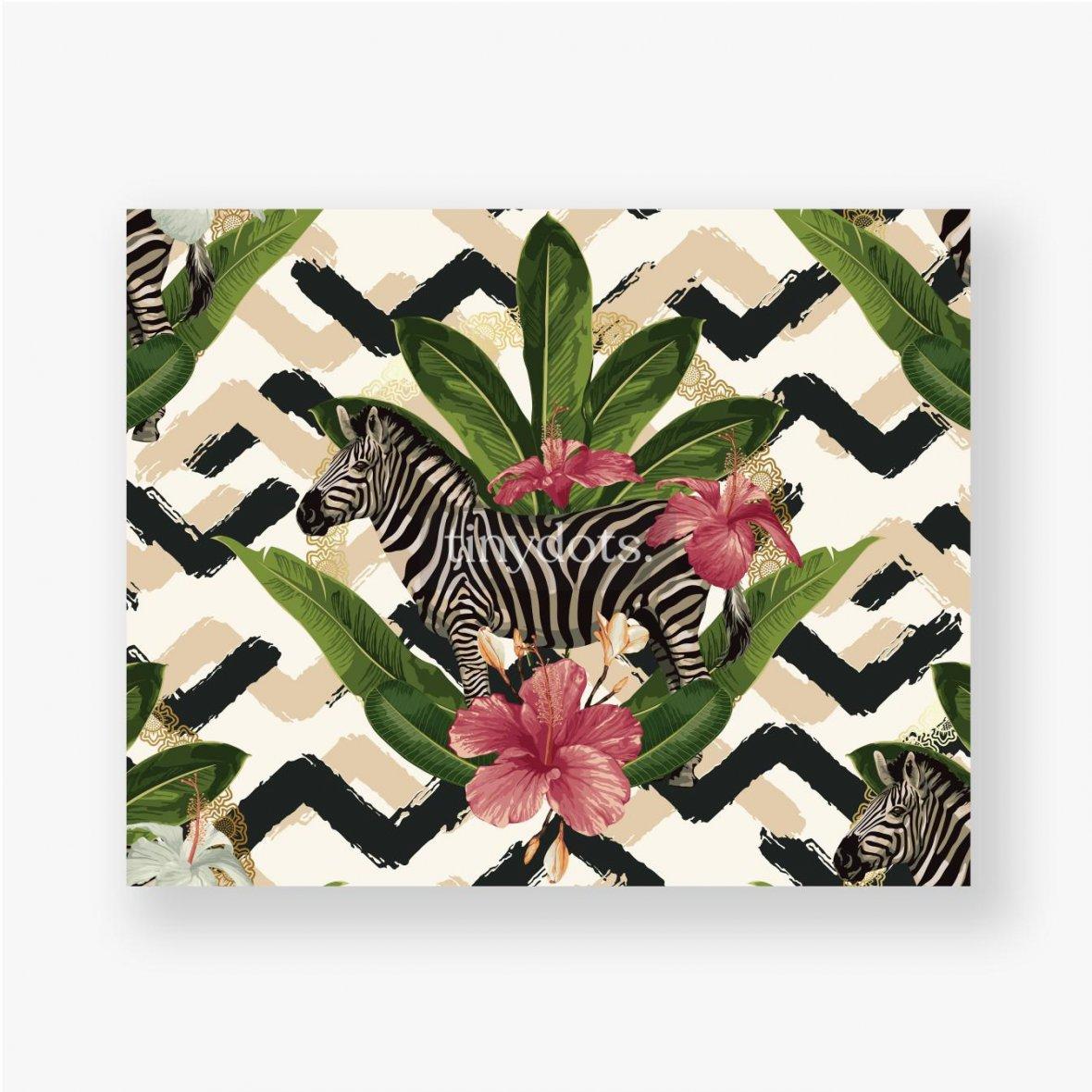 Poster Geometrisches Muster mit Zebra und Blättern