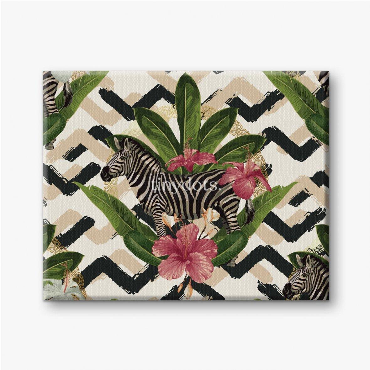 Leinwandbilder Geometrisches Muster mit Zebra und Blättern