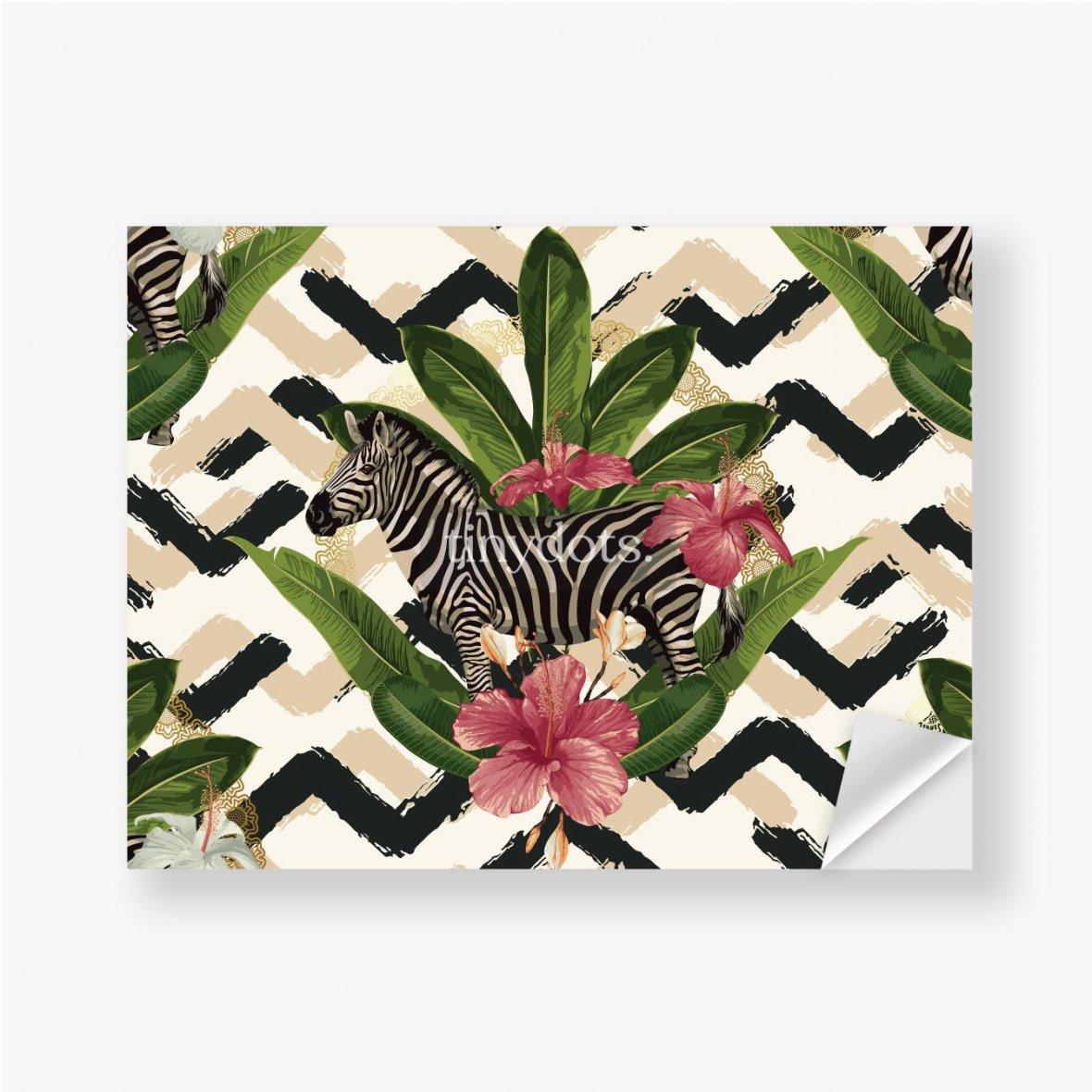 Aufkleber Geometrisches Muster mit Zebra und Blättern