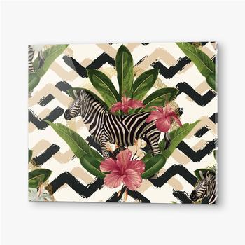 Bilder auf Acrylglas Geometrisches Muster mit Zebra und Blättern