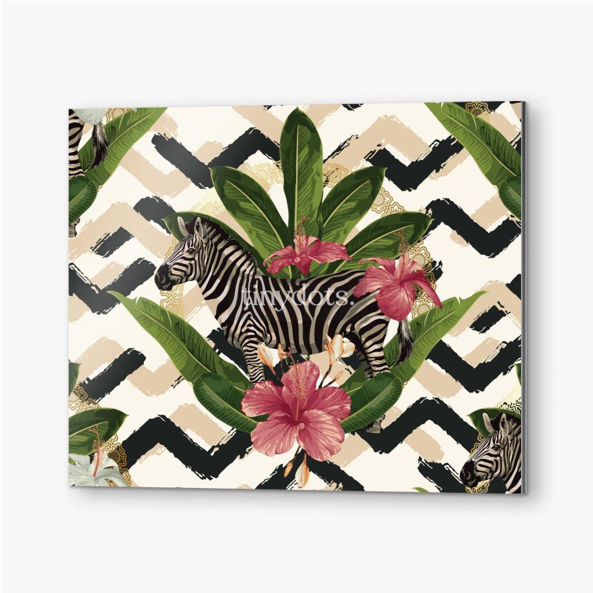 Bilder auf Alu-Dibond Geometrisches Muster mit Zebra und Blättern