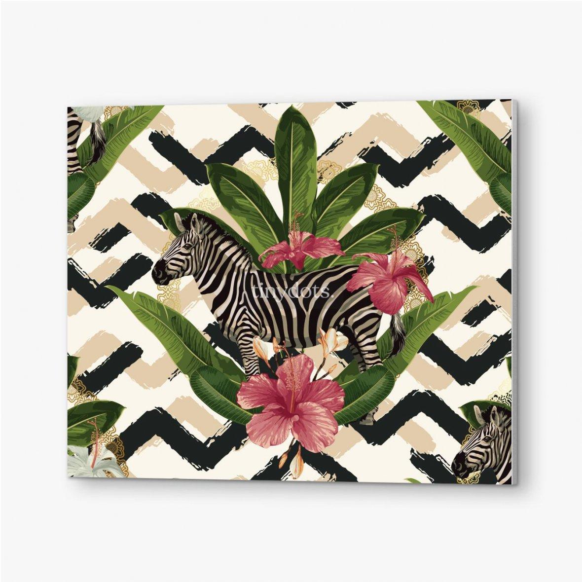 Bilder auf PVC Geometrisches Muster mit Zebra und Blättern