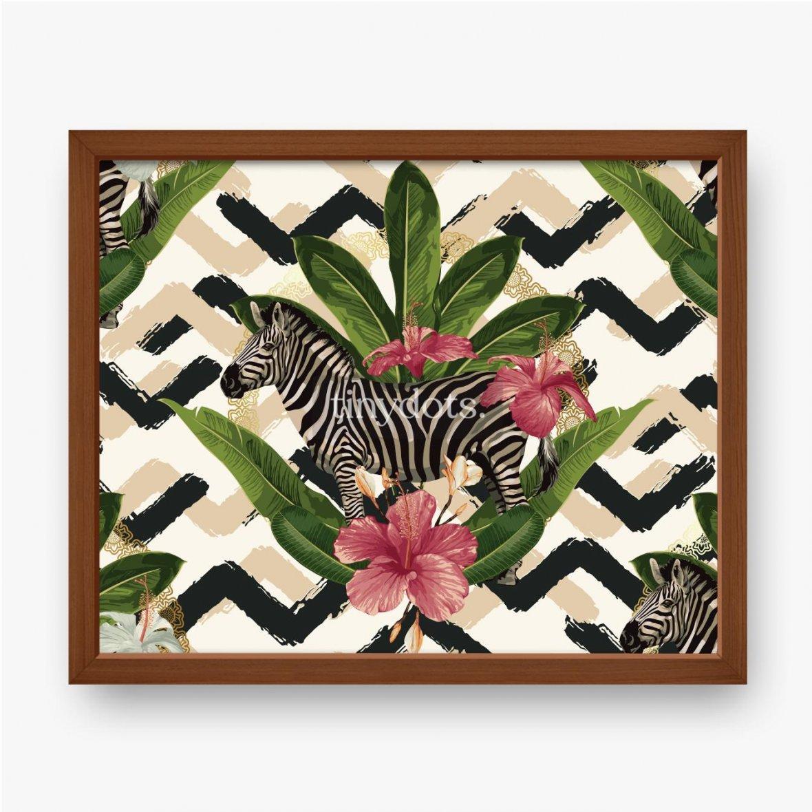 Gerahmte Poster Geometrisches Muster mit Zebra und Blättern