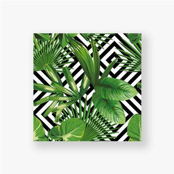 Poster Exotisches Muster mit Blättern auf einem geometrischen Hintergrund