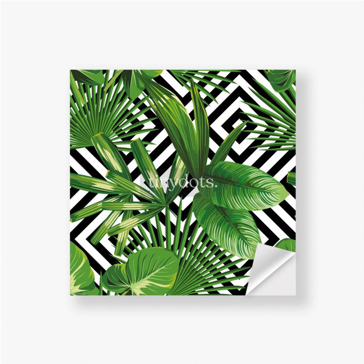 Aufkleber Exotisches Muster mit Blättern auf einem geometrischen Hintergrund