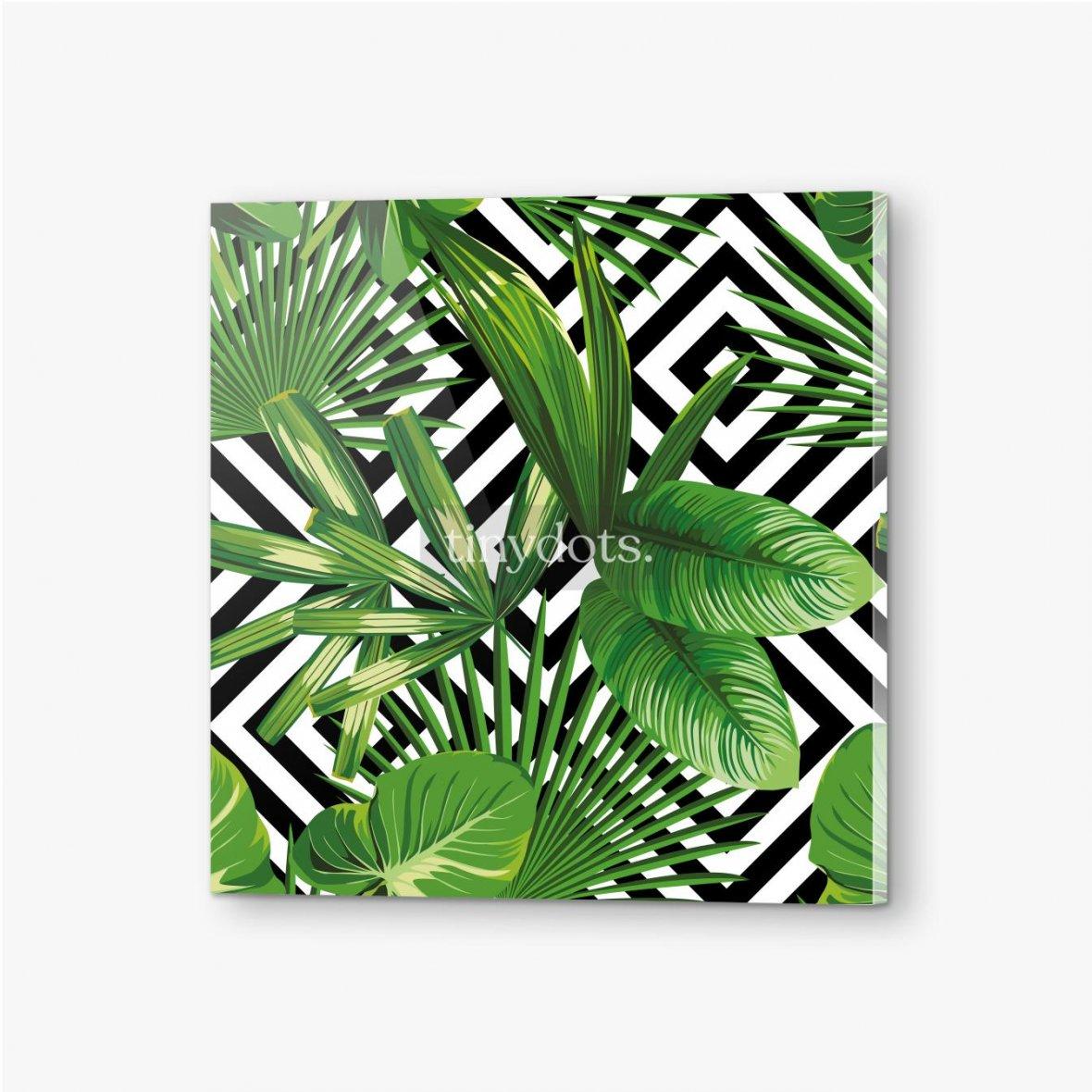 Bilder auf Acrylglas Exotisches Muster mit Blättern auf einem geometrischen Hintergrund