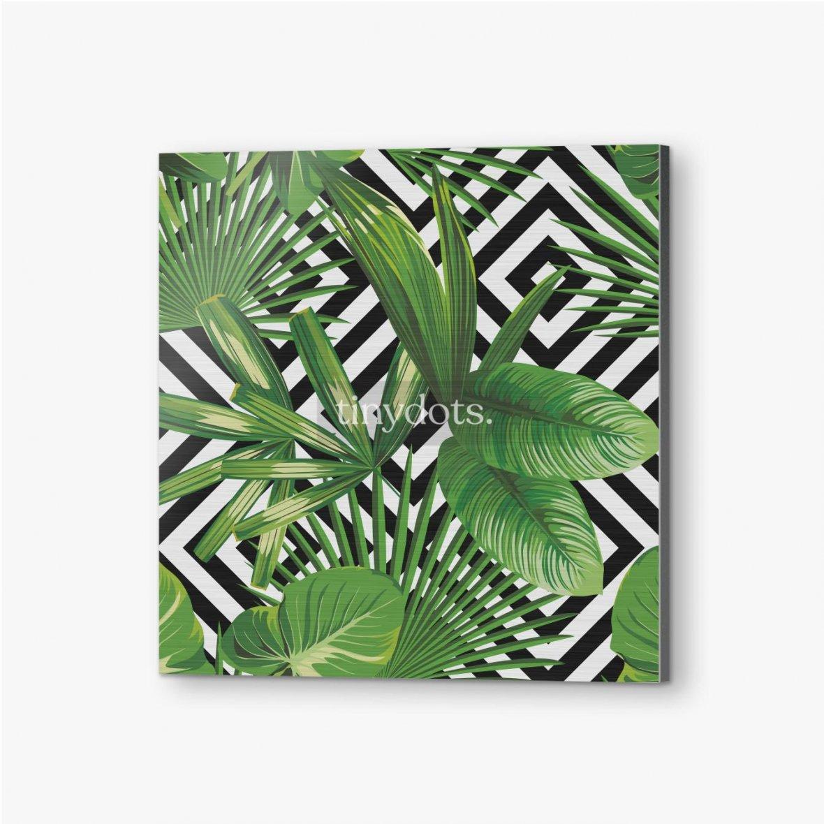 Bilder auf Alu-Dibond Exotisches Muster mit Blättern auf einem geometrischen Hintergrund