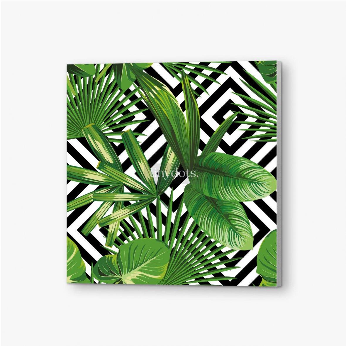 Bilder auf PVC Exotisches Muster mit Blättern auf einem geometrischen Hintergrund