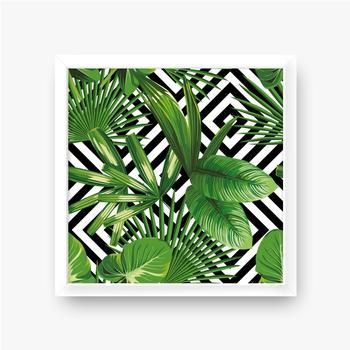 Gerahmte Poster Exotisches Muster mit Blättern auf einem geometrischen Hintergrund