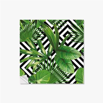 Selbstklebende Poster Exotisches Muster mit Blättern auf einem geometrischen Hintergrund