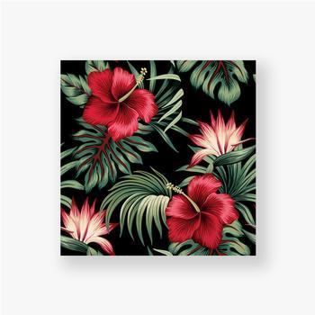 Poster Tropischer Weinlese-roter Hibiskus und Strelitzia-Blumengrünpalmenblätter nahtloser Musterschwarzer Hintergrund. Exotischer Dsch