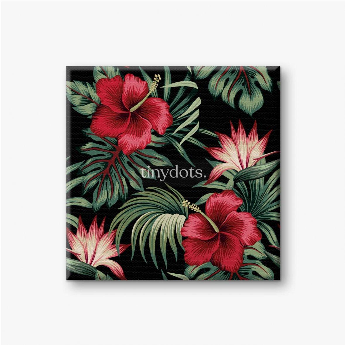 Leinwandbilder Tropischer Weinlese-roter Hibiskus und Strelitzia-Blumengrünpalmenblätter nahtloser Musterschwarzer Hintergrund. Exotischer Dsch