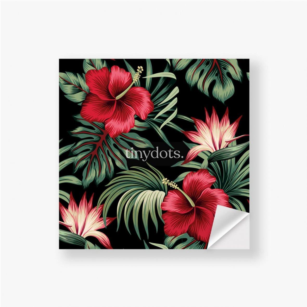 Aufkleber Tropischer Weinlese-roter Hibiskus und Strelitzia-Blumengrünpalmenblätter nahtloser Musterschwarzer Hintergrund. Exotischer Dsch